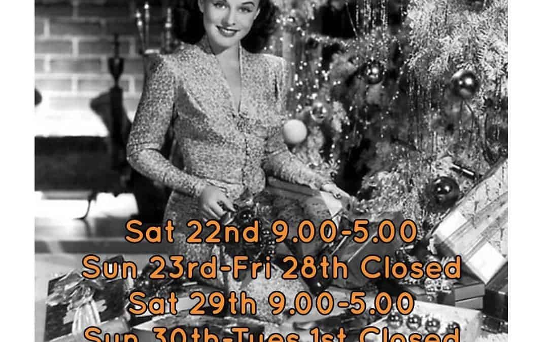 Opening times for Christmas week